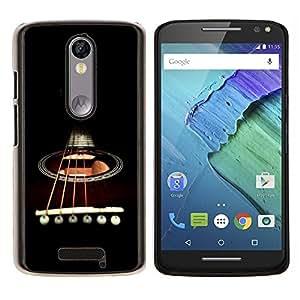 Caucho caso de Shell duro de la cubierta de accesorios de protección BY RAYDREAMMM - Motorola MOTO X3 3rd - Minimalista Guitarra y Cuerdas