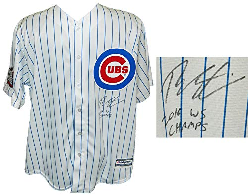 Theo Epstein Autographed Signed Chicago Cubs White Pinstripe 2016 World Series Patch Majestic Replica Jersey w/16 WS Champs - Certified Signature
