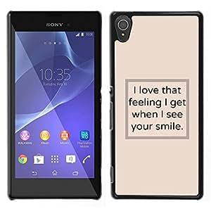 LECELL--Funda protectora / Cubierta / Piel For Sony Xperia T3 -- Veo el texto del cartel sonrisa amarillenta inspirador --