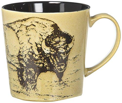- StealStreet SS-UG-TCD-857, Bison with Wood Scene Ceramic Mug Holds 16 Ounces, Black and Brown