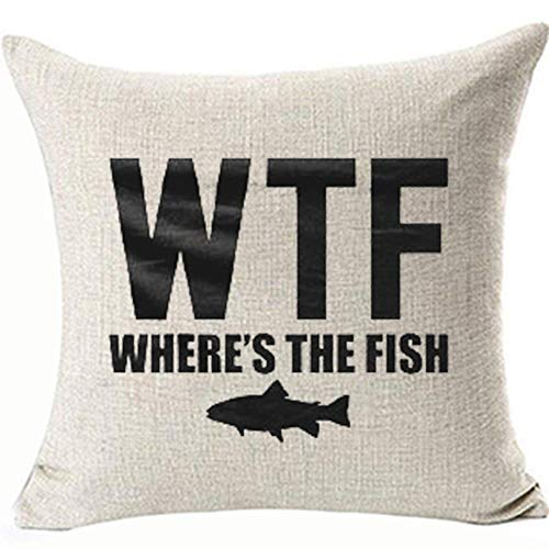 FaceYee WTF Where's The Fish Pillow Cushion Cover Funny Cool Humor Decorative Throw Pillow Cases,Two Side Removable Invisible Zipper Square Beach Home Decor Color:Where's The Fish