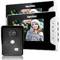 AigoVision Ag813MK12 7 Inch Video Door Phone Doorbell Intercom System Kits 2 Monitor 1 Camera