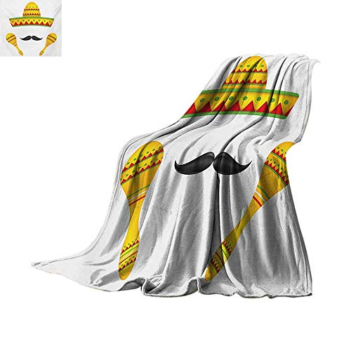 Mexican Throw Blanket Famous Centerpiece Icons of Mexico Sombrero Moustache Rumba Shaker Mesoamerican Print Custom Design Cozy Flannel Blanket 50