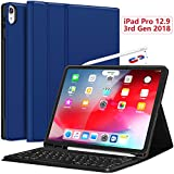 iPad Pro 12.9 Case with Keyboard 2018-3rd Gen [Support Apple Pencil Charging] [with Pencil Holder] Magnetically Detachable Wireless Keyboard for iPad Pro 12.9 2018 (Not for 2017/2015), Blue