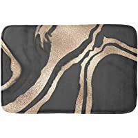Modern Chic Black Gold Painted Abstract Marble Bath Door Mat Indoor 23.6 x 15.7 inch