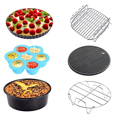 Sonyabecca Air Fryer Accessories 6pcs for Growise Phillips Cozyna Fit all 3.7QT 5.3QT 5.8QT Air Fryer Accessory Deep Fryer 7inch Accessory ()