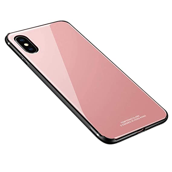 iPhone Xs Max Case,Tempered Glass Back Cover TPU Frame Slim Case for iPhone  Xs Max (Rose Gold)