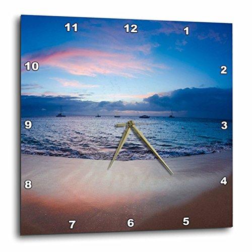 3dRose Sunset from Kaanapali Beach, Maui, Hawaii, USA.-Wall Clock, 15 by 15