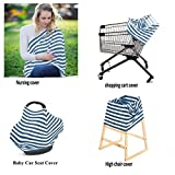 Nursing Cover/Nursing Scarf, Stretchy Baby Car Seat Covers Canopy,Shopping Cart Covers Grocery Trolley Cover/High Chair Covers Multi-Use 4 in 1 Unisex Baby Shower Gift - Blue White Stripe