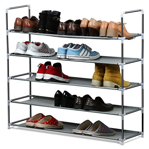 Review Topeakmart 5 Tier 25 Pairs Space Saving Shoe Rack Tower By Topeakmart by Topeakmart