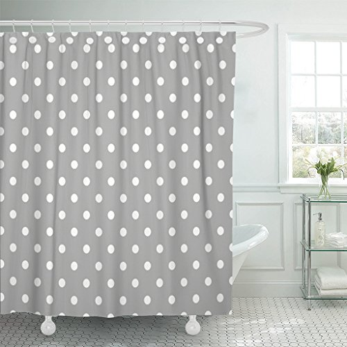 Emvency Shower Curtain Grey Gray Polka Dot Pattern White Baby Abstract Circle Waterproof Polyester Fabric 60 x 72 Inches Set with Hooks