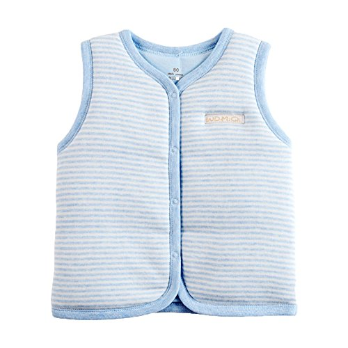 (Monvecle Baby Cotton Warm Vests Unisex Infant to Toddler Light Padded Waistcoat Blue Stripe 6-9m)