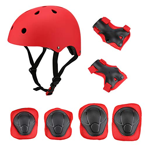 Kids Helmet Sports Safety Protective Gear Set for 3-8 Years, Helmet Knee Pads Elbow Pads Wrist Guards Toddler Helmet for Scooter Roller Bicycle Skateboard and Other Extreme Sports Activities - Micro Hoovers Bag