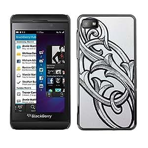 TopCaseStore / la caja del caucho duro de la cubierta de protección de la piel - So Initials Letters Floral Calligraphy - Blackberry Z10