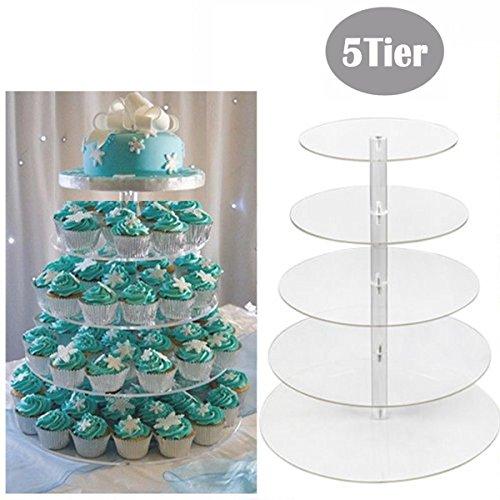 Foshin 5 Tier Cupcake Stand, Crystal Clear Acrylic Cupcake Display Stand Round Tower Cupcake Dessert Display Stand (US Stock) by Foshin (Image #1)