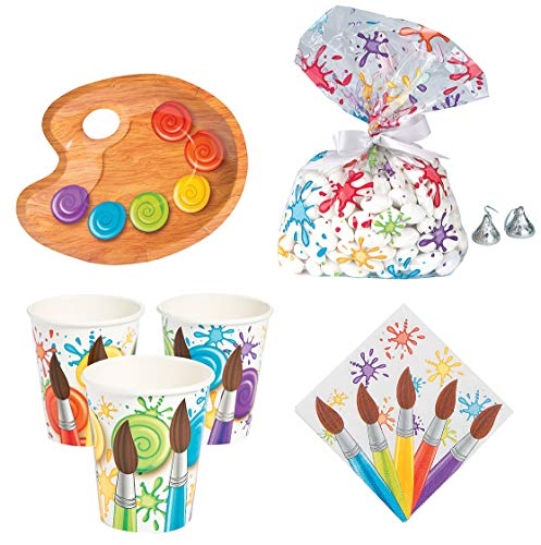 Fun Express Art Party Bundle | Plates, Napkins, Cups, Cellophane Bags | Great for Kids Birthday Parties, Artist Painting Themes, Dinner Tableware Setting