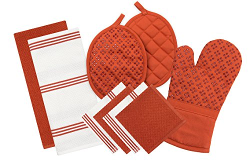Sticky Toffee Silicone Printed Oven Mitt & Pot Holder, Cotton Terry Kitchen Dish Towel & Dishcloth, Orange, 9 Piece Set