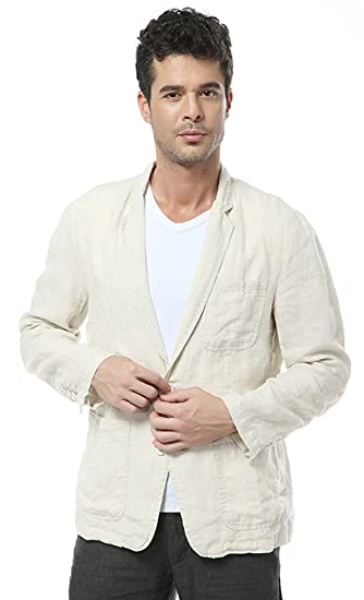 c80b1ec59fa7 Insun Men s Casual Linen Notch Lapel 2 Button Light Weight Blazer Jacket  Beige
