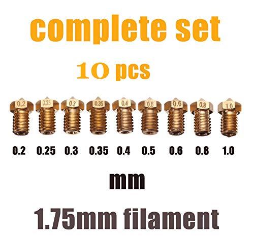 Amazon price history for 10 pcs MIX E3D V5 V6 Nozzle M6 threaded 3D Printer Accessories Full Metal 0.1/0.2/0.25/0.3/0.35/0.4mm/0.5/0.6/0.8/1.0mm for 1.75mm filament
