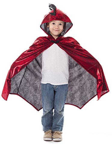 Little Adventures Deluxe Childrens Dragon Cloak Cape Age 3-8 (Red) ()
