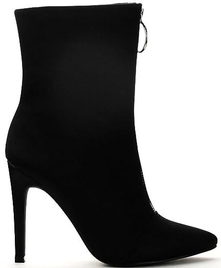 Gigi-16 Black Stretch Pointed Stiletto Designer ankle Dress Bootie