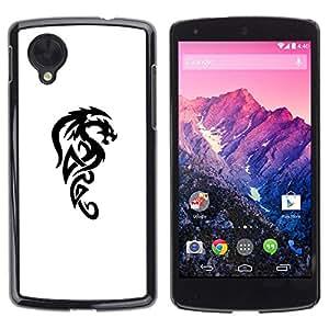 Caucho caso de Shell duro de la cubierta de accesorios de protección BY RAYDREAMMM - LG Google Nexus 5 D820 D821 - Dragon Mythical Creature Decal Black