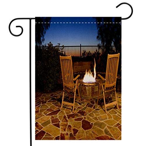 BEIVIVI Custom Double Sided Seasonal Garden Flag Luxurious Outdoor fire Pit with Seating to View The Sunset Welcome House Flag for Patio Lawn Outdoor Home Decor ()