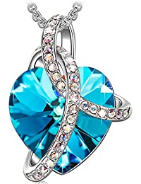 """♥Valentine's Day Gift♥ SIVERY """"Love Heart"""" Women Jewelry Necklace Made with Swarovski Crystals, Gifts for Mom"""