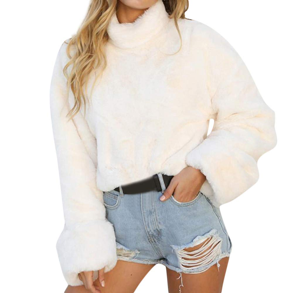 Viahwyt Women Winter Warm Long Sleeve High Neck Super Soft Plush Pullover Plain Short Crop Sweatshirt Outerwear Hand wash Cold Hang or Line Dry