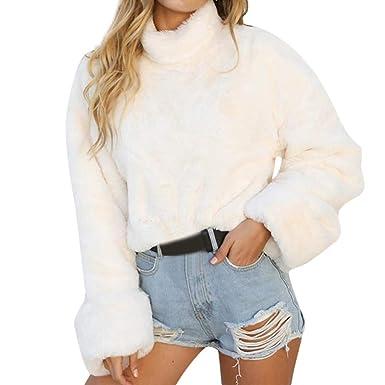 ❤ Sudadera de Felpa Mujer de Invierno, Mujer Cálida Manga Larga Cuello Alto Jersey Blusa Camisas Cortas Sudadera Absolute: Amazon.es: Ropa y accesorios
