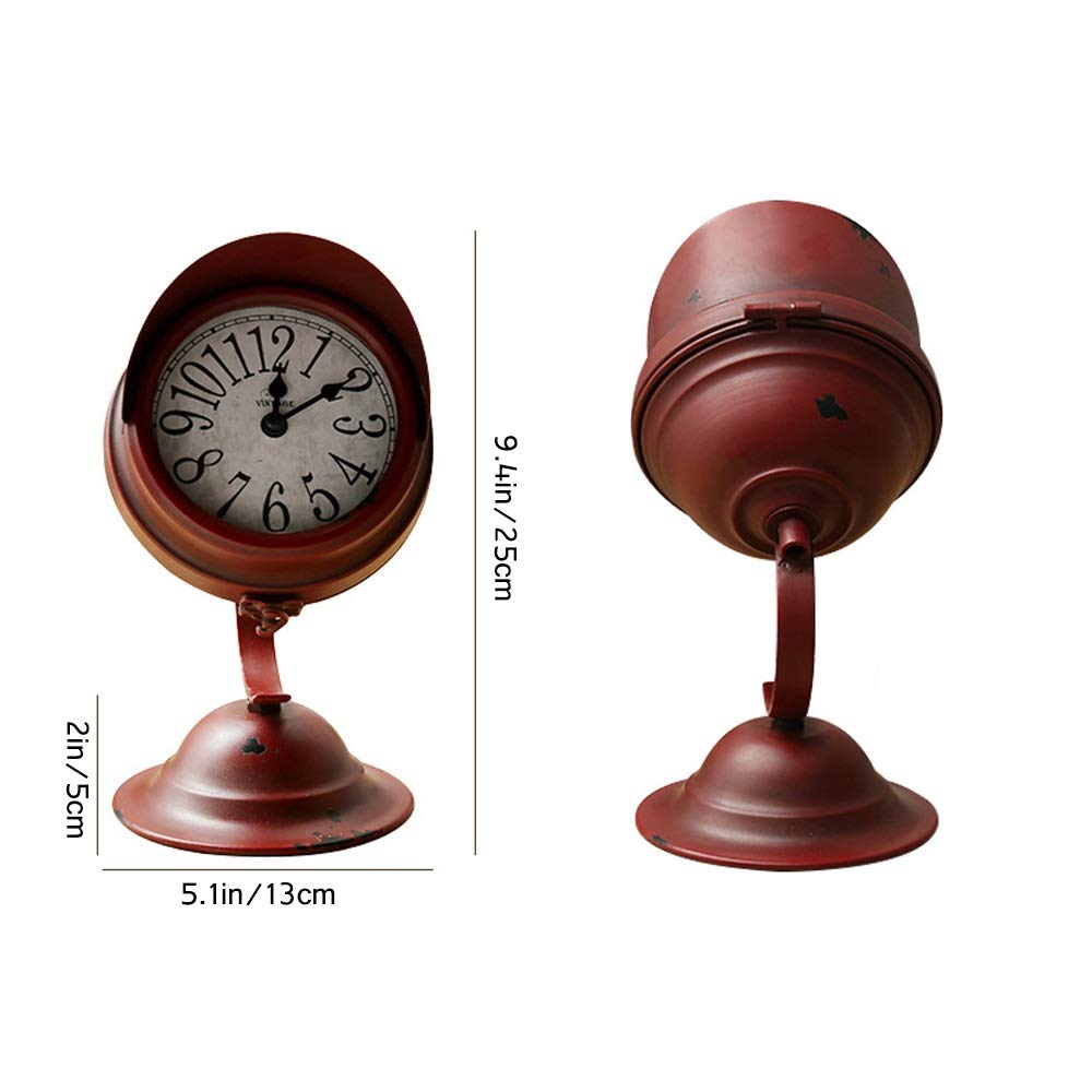 Axroad Mall European Style Vintage Metal Desk Clocks Searchlight Industrial Style Silent No Ticking Numerals Desk Clock For Office Desk Home Shelf Clock