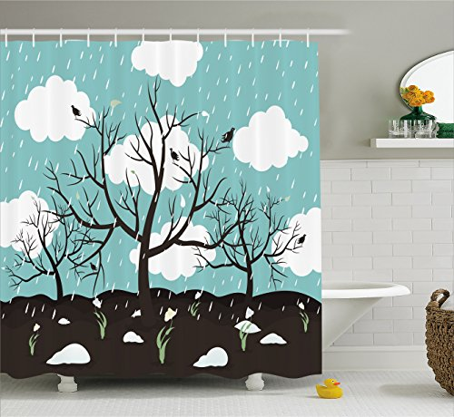 Ambesonne Nature Shower Curtain, Funky Scenery with Leafless Trees on Field and Rain Clouds Birds Winter, Fabric Bathroom Decor Set with Hooks, 84 Inches Extra Long, Turquoise Dark Brown
