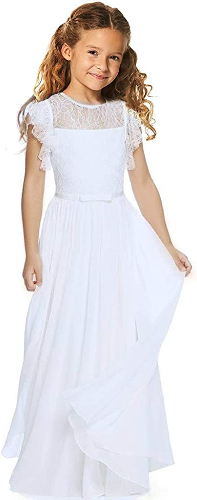 Girl Lace White Flower A-lined Dress Christening Summer