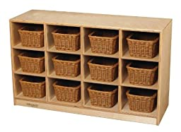 Childcraft 1429287 Toddler Mobile Cubby, 12 Unit Capacity, Natural Wood Tone