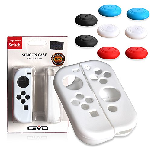 Nintendo Controller Silicone Protector Slick White 4 Pack Black Blue Red White product image
