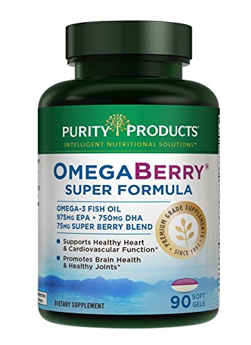 OmegaBerry Fish Oil with Vitamin D3 & Organic Acai Super Formula - 90 Soft Gels - 30 Day Supply from Purity Products