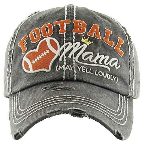 H-212-FM70 Distressed Baseball Cap Vintage Dad Hat - Football Mama (Dark Grey)