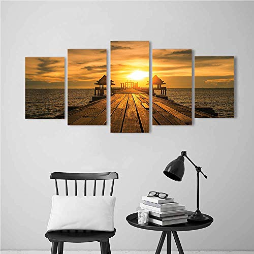 Five Joint Painting Painting Kits Arts Craft for Home Wall Decor Gift,Scenery Wooden Dock Bangkok Bay Morning Lights Sunshine and Ocean Print Poster Deco Painting. (Sitting On The Dock Of The Bay Artist)