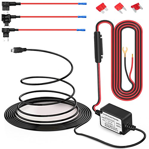 Price comparison product image Dash Cam Hardwire Kit Mini USB Hard Wire Car Charger Cable Kit 12V to 5V for Dash Cameras GPS (Mini USB and Fuse Kit)