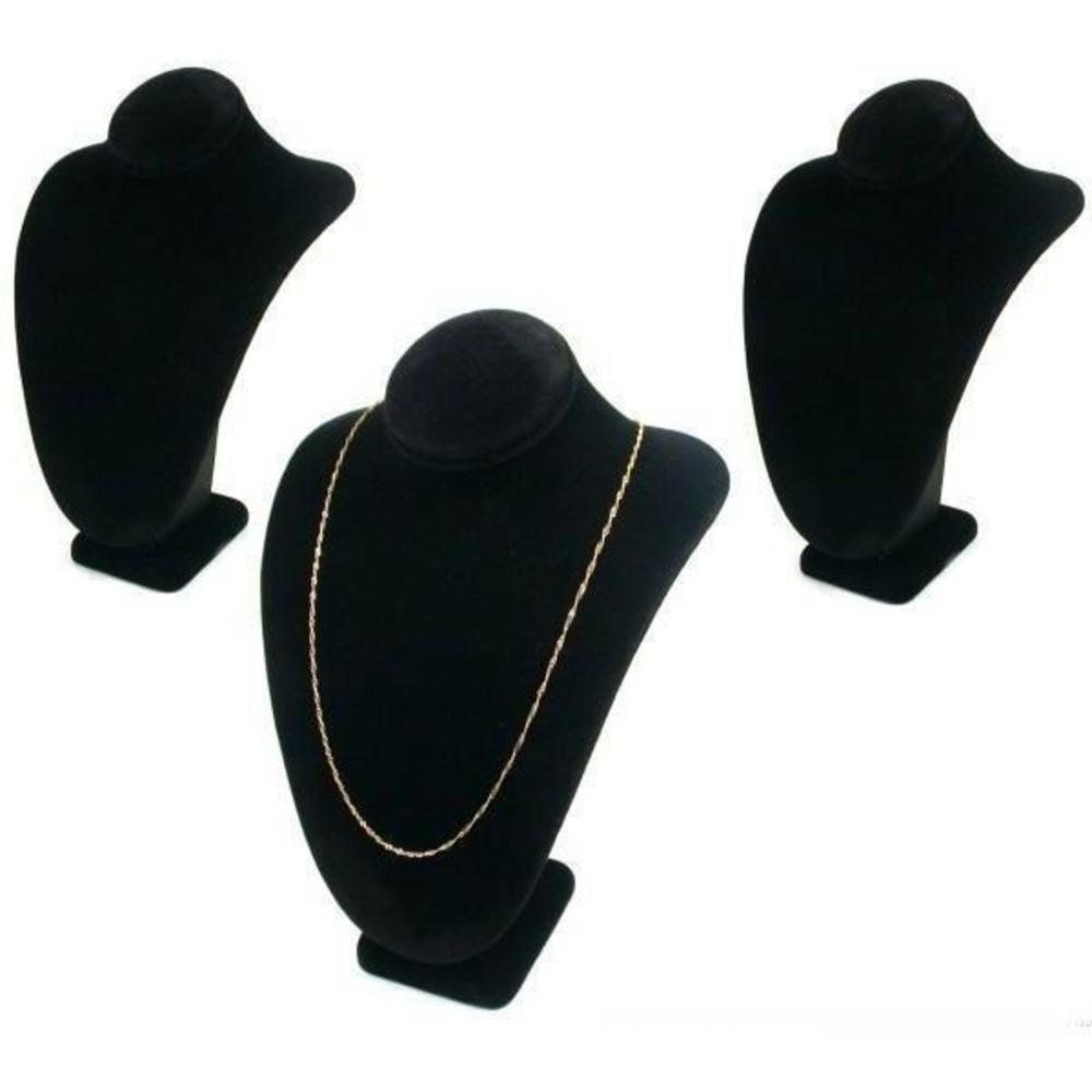 3 Black Velvet Necklace Pendant Busts Jewelry Displays Chain Showcases 189-3BK (3)