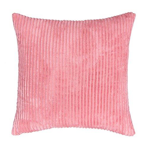 SUNOOMY Supersoft Handmade Decorative Striped Velvet Square Throw Cushion Pillow Case Cover Sofa Couch Bed Chair,Soft Pink,26