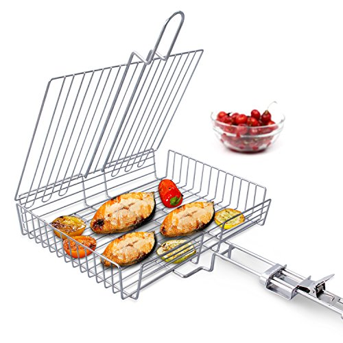 WolfWise Portable 430 Stainless Steel Barbecue BBQ Grilling Basket Removable Handle (Best Veggie Dogs For Grilling)