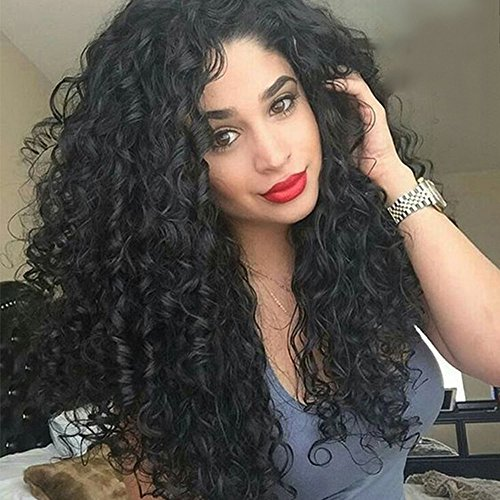Asifen Swiss Lace Front Wigs for African American Women Jet Black 24 Inch Afro Kinky Long Curly Hair Synthetic Full Wigs for Black Women - Lace Front African American Wigs