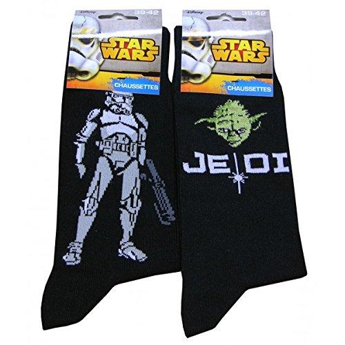 STAR WARS-Juego de 2 pares de calcetines para hombre, diseño de STAR WARS