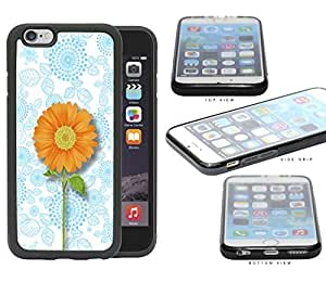 Sky Blue Floral Background with Orange Daisy iPhone 6 (4.7) INCH SCREEN Silicone Cell Phone Case