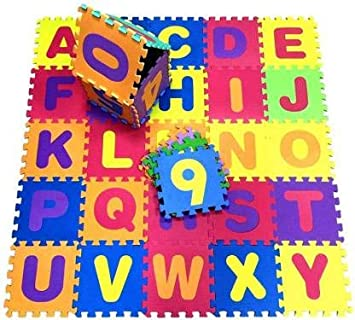 Alphabet Puzzle Mat ABCD + Numbers 0 to 9 Flooring Mat | Set of 36 Tiles (Multicolored)