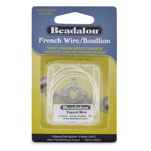 Beadalon French Wire 0.9mm Silver Plated, 1-Meter (French Bullion Wire)