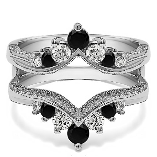 (TwoBirch Sterling Silver Chevron Style Ring Guard with Millgrained Edges and Filigree Cut Out Design with Black And White Cubic Zirconia (0.74 ct. tw.))