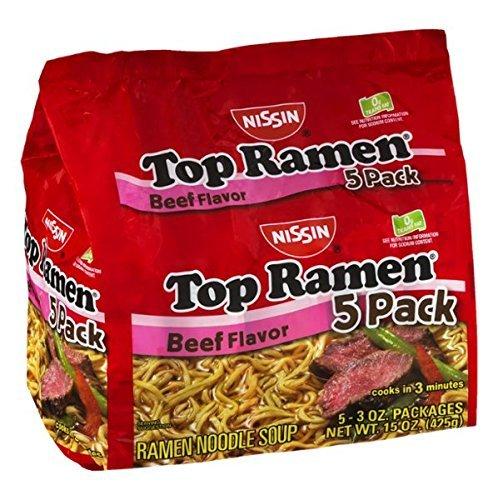 Nissin Top Ramen Beef Flavor Noodle Soup - 5 Ct (Pack of 3) (Beef Nissin Ramen Top)
