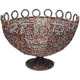 KINDWER Round Beaded Decorative Basket, 11-Inch